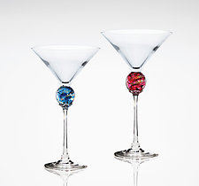 Planet Martini Glass by Minh Martin (Art Glass Drinkware)