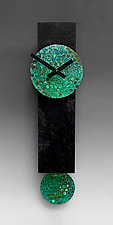 Narrow Black Pendulum Clock with Verdigris Copper by Leonie  Lacouette (Wood & Metal Clock)