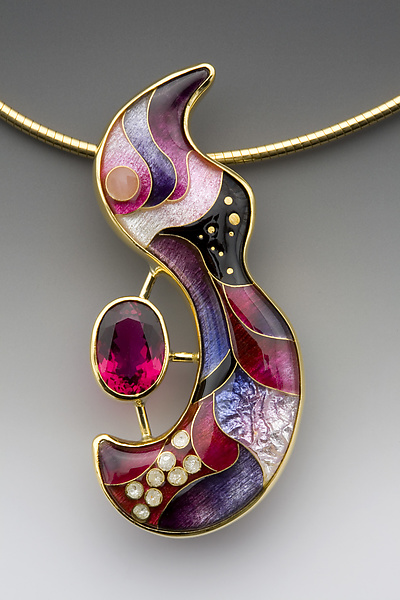 Pink and Purple Swirl with Rubellite Tourmaline Necklace