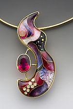 Pink and Purple Swirl with Rubellite Tourmaline Necklace by Anna Tai (Enameled Necklace)