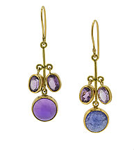 Tanzanite and Amethyst Flower Earrings by Lori Kaplan (Gold & Stone Earrings)