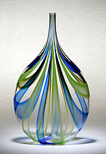 Cobalt & Green Cane Bottle by Chris McCarthy (Art Glass Vessel)