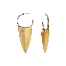 Dagger Shield Earrings by Sasha Walsh (Silver & Brass Earrings)