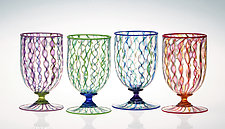 Ribbon Cane Water Glasses by Robert Dane (Art Glass Drinkware)