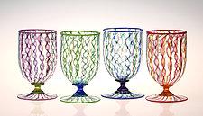 Ribbon Cane Water Glasses by Robert Dane (Art Glass Drinkware)