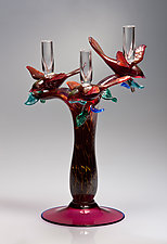 Three-Bird Candelabra by Robert Dane (Art Glass Candleholder)