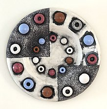 Dots and Dimples Wall Plate by Regina Farrell (Ceramic Wall Sculpture)