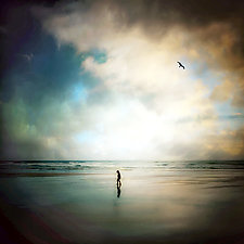 Child Walking Alone by Gloria Feinstein (Color Photograph on Aluminum)