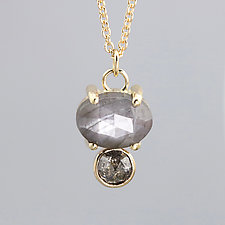 Gray Sapphire and Rose Cut Diamond Gold Necklace by Sarah Hood (Gold & Stone Necklace)