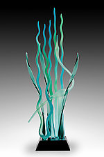 Dancing on the Water's Edge, Blue Lagoon by Warner Whitfield and Beatriz Kelemen (Art Glass Sculpture)