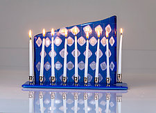 Silver Diamond Menorah by Varda Avnisan (Art Glass Menorah)