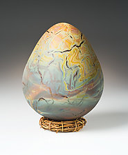 Opalescent Dragon Egg by Elodie Holmes (Art Glass Sculpture)