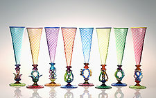 Tutti Frutti Champagne Flutes by Robert Dane (Art Glass Drinkware)