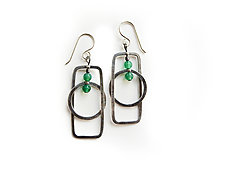 Sterling Silver and Green Onyx Earrings by Boo Poulin (Silver & Stone Earrings)