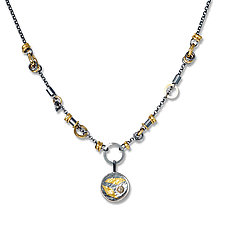 Black and Gold Keum-Bo Diamond Disk Necklace by Suzanne Q Evon (Gold, Silver & Stone Necklace)