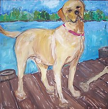Yellow Lab on Dock by Elisa Root (Oil Painting)