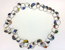 Wire Loop Necklace in Heather Stripes by Bonnie Bishoff and J.M. Syron (Steel & Polymer Necklace)