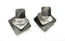 Three Piece Layered Earrings by Suzanne Schwartz (Silver Earrings)