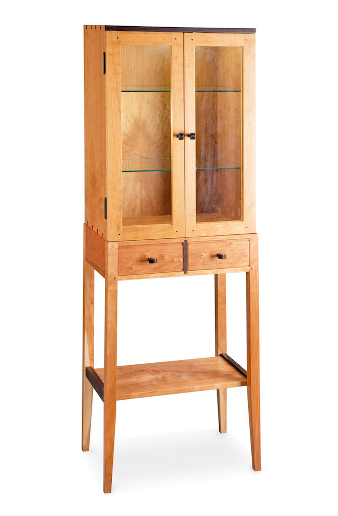 Tall Cherry Display Two Door Cabinet By Tom Dumke Wood Cabinet Artful Home
