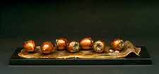 French Lesson 15—7 Kakis Asiatiques, 7 Asian Persimmons by Darlis Lamb (Bronze Sculpture)