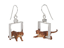 Silver Square Tiger Earrings by Kristin Lora (Silver Earrings)