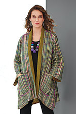 Striped A-line Jacket by Mieko Mintz  (Woven Jacket)