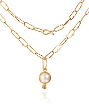 Pearl and Diamond Pendant Necklace in Gold by Petra Class (Gold & Silver Necklace)