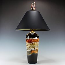 Black Opal Tangerine Table Lamp by Danielle Blade and Stephen Gartner (Art Glass Table Lamp)