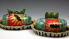 Sunflower Butter Dishes by Peggy Crago (Ceramic Serving Ware)
