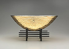 Golden Sunset Oval Vessel by Nicholas Stelter (Art Glass Sculpture)