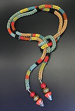 Color Block Bead Crochet Lariat Necklace by Sher Berman (Beaded Necklace)