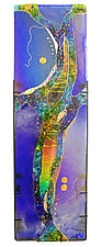Sapphire Moon Panel by Karen Ehart (Art Glass Wall Sculpture)
