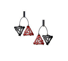 Double Triangle Mobile Earrings by Joanna Nealey (Enameled Earrings)