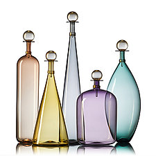 Smoky Large Jewel Bottles by Vetro Vero (Art Glass Bottle)