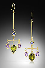 Crossbar Chandelier Earrings by Lori Kaplan (Gold & Stone Earrings)