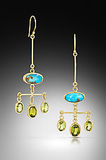 Chandelier Earrings in Turquoise and Peridot by Lori Kaplan (Gold & Stone Earrings)