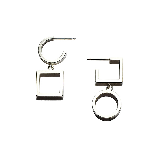 Asymmetric Circle and Square Drop Earrings