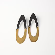 Two-Tone Egg Posts by Maia Leppo (Gold & Steel Earrings)