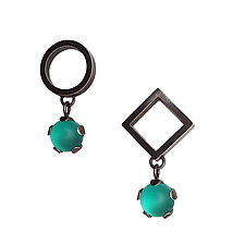 Asymmetrical Drop Earrings by Nina Scala (Silver & Stone Earrings)