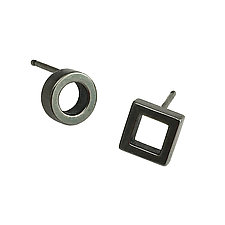 Tiny Asymmetrical Stud Earrings by Nina Scala (Gold & Silver Earrings)