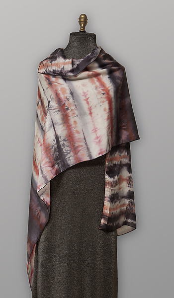 Gray & Red Silk Scarf