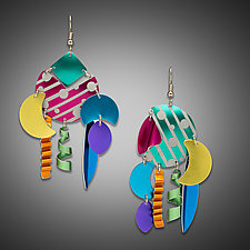 Striped & Dots Dangle Earrings by Sylvi Harwin (Aluminum Earrings)