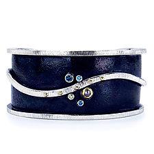 Silver Cuff Diamond Bracelet by Jamie Santellano (Gold, Silver & Stone Bracelet)