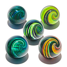 Set of Five Onion Skin Marbles by Michael Trimpol and Monique LaJeunesse (Art Glass Paperweight)