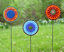 Lolly Flowers Garden Stakes by Terry Gomien (Art Glass Sculpture)
