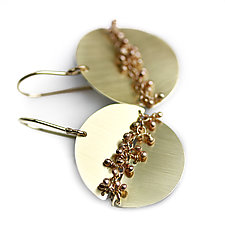 Gold Disks with Woven Sprout Seam Earrings by Wendy Stauffer (Gold & Silver Earrings)