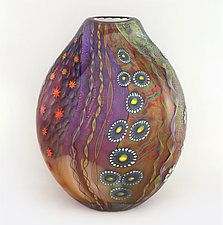 Topaz and Ruby Aquarium Vase by Ken Hanson and Ingrid Hanson (Art Glass Vase)