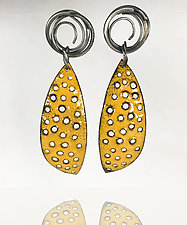 Lines and Textures Earrings by Beth Novak (Silver & Enamel Earrings)