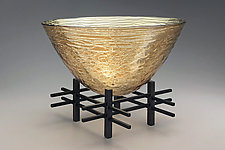 Golden Sunset Round Bowl by Nicholas Stelter (Art Glass Sculpture)
