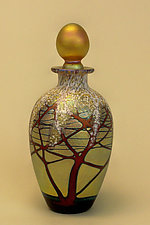 Gold Cherry Blossom Perfume Bottle by Carl Radke (Art Glass Perfume Bottle)